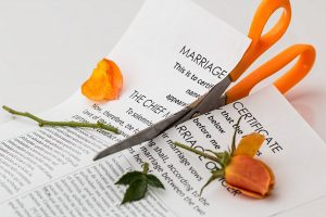 cutting marriage document in half
